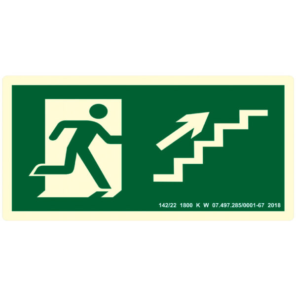 Placa de Sinalização Escada Sobe para Direita